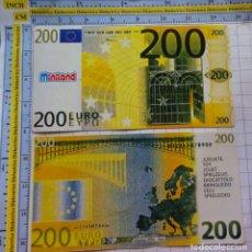 Reproducciones billetes y monedas: BILLETE DE JUGUETE. FACSÍMIL REPRODUCCIÓN MINILAND. 200 EUROS. PVC JUEGO. 588. Lote 180124270