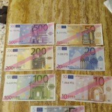 Reproducciones billetes y monedas: CAMPAÑA DE COMUNICACIÓN DEL EURO SERIE DE RÉPLICAS DE BILLETES. Lote 180251401