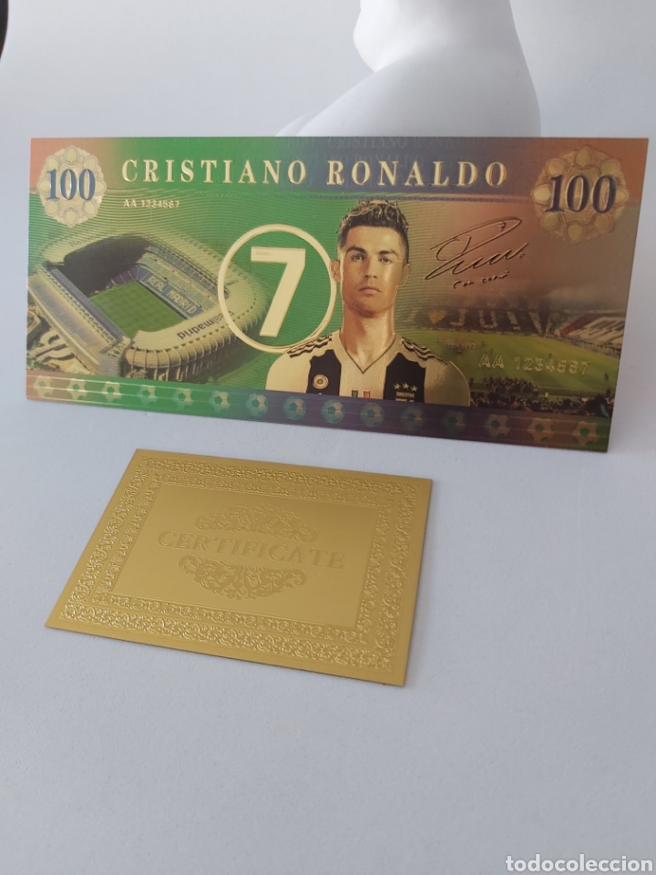 EXCLUSIVO BILLETE DE CRISTIANO RONALDO DE ORO CON CERTIFICADO DE AUTENTICIDAD (Numismática - Reproducciones)
