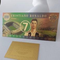 Reproducciones billetes y monedas: EXCLUSIVO BILLETE DE CRISTIANO RONALDO CON CERTIFICADO DE AUTENTICIDAD. Lote 268819884