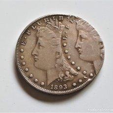 Reproducciones billetes y monedas: USA MORGAN ONE DOLLAR 1893 ERROR DE MONEDA - 40.MM DIAMETRO. Lote 180283765