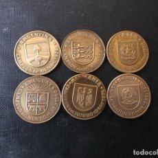 Reproducciones billetes y monedas: MONEDAS DE MUNDIAL 82 ESPAÑA BRONCE , URUGUAY , ARGENTINA , ALEMANIA, ITALIA, INGLATERRA, BRASIL. Lote 180911651