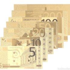 Reproducciones billetes y monedas: LOTE BILLETES EURO ORO 24K. Lote 181115855