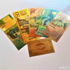 Reproducciones billetes y monedas: AUSTRALIA COLECCION 5 BILLETES DOLLARS ORO REAL 24.KILATES BAÑADOS + CERTIFICADO. Lote 234974895