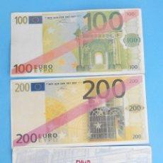 Reproducciones billetes y monedas: BILLETES DE PROPAGANDA DE 100 Y 200 EUROS. EMITIDOS PARA LA FAMILIARIZACIÓN ANTES DE LANZAR EL EURO.. Lote 182510772