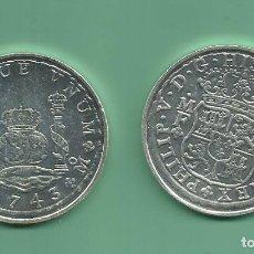 Reproducciones billetes y monedas: RÉPLICA DE LA FNMT. 8 REALES 1743. FELIPE V. MÉXICO. Lote 195310330