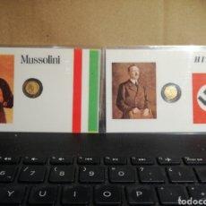 Reproducciones billetes y monedas: TARJETAS MUSSOLINI Y HITLER CON MONEDAS EN MINIATURA. Lote 182785232