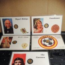 Reproducciones billetes y monedas: TARJETAS PLASTIFICADA CON MONEDA EN MINIATURA. Lote 182785787