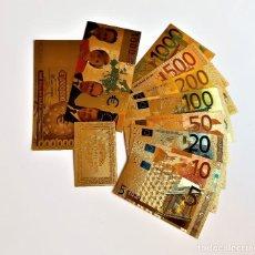 Reproducciones billetes y monedas: ORIGINAL COLECCION 10 BILLETES EUROS A COLOR 99.9% PURE ORO 24K. CON CERTIFICADO AUTENTICIDAD NUEVOS. Lote 184586353