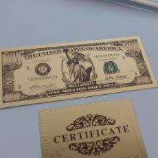 Reproducciones billetes y monedas: PRECIOSO BILLETE 99.9% ORO 24 K EN HOMENAJE A LA ESTATUA DE LA LIBERTAD. Lote 184710591