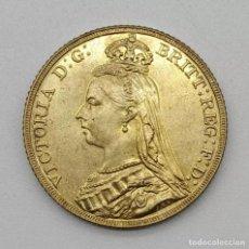 Reproducciones billetes y monedas: MONEDA REINA VICTORIA DE 1888 EN ORO LAMINADO. Lote 184815541