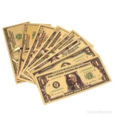 Reproducciones billetes y monedas: EXCLUSIVA COLECCIÓN DE 7 BILLETES DE DOLAR A COLOR 99.9% ORO PURO 24 KLTS + REGALO BITCOIN. Lote 184891293