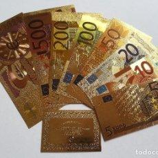 Reproducciones billetes y monedas: 8 BILLETES EUROS A COLOR 99.9% PURE ORO 24K CON CERTIFICADO AUTENTICIDAD Y 2 BILLETES DE REGALO!!!!. Lote 184891311