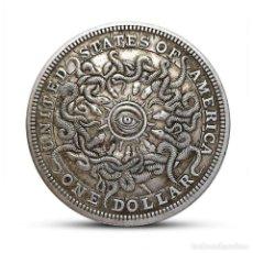 Reproducciones billetes y monedas: MONEDA UN DOLAR CONMEMORATIVO OJO CIELO AGUILA 40 MM REPRODUCCIÓN. Lote 185875246