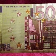 Reproducciones billetes y monedas: BILLETE DE 500 EUROS LAMINADO EN ORO DE 24 KILATES - EUROPA - REPRODUCCION - 160 X 83 MM. Lote 185907897