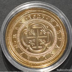 Reproducciones billetes y monedas: BONITA REPRODUCCIÓN MONEDA DE ORO 100 ESCUDOS SEGOVIA 1623 FELIPE IV ESPAÑA CENTEN BAÑO DE ORO PURO. Lote 186038891