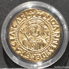 Reproducciones billetes y monedas: BONITA REPRODUCCIÓN MONEDA DE ORO DUCADO DE ZARAGOZA JUAN II DE ARAGON ESPAÑA METAL BAÑO DE ORO PURO. Lote 186152611