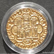 Reproducciones billetes y monedas: REPRODUCCIÓN MONEDA DE ORO DOBLA DE BANDA DE SEVILLA PEDRO I DE CASTILLA ESPAÑA BAÑO DE ORO PURO. Lote 186152931