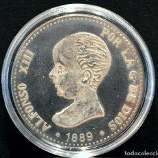 Reproducciones billetes y monedas: BONITA REPRODUCCIÓN MONEDA DE PLATA 5 PESETAS 1889 ALFONSO XIII ESPAÑA METAL BAÑO EN PLATA PURA. Lote 76750851