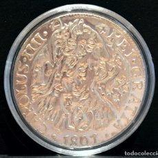Reproducciones billetes y monedas: BONITA REPRODUCCIÓN MONEDA DE PLATA 8 REALES 1801 CARLOS IV RESELLOS CHINOS METAL BAÑO EN PLATA PURA. Lote 76751507