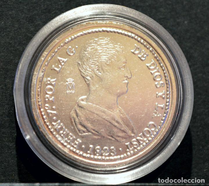 Reproducciones billetes y monedas: BONITA REPRODUCCIÓN MONEDA PLATA 4 REALES 1823 VALENCIA FERNANDO VII METAL CON BAÑO DE PLATA PURA - Foto 2 - 76850655