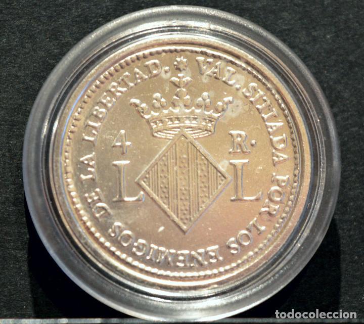 Reproducciones billetes y monedas: BONITA REPRODUCCIÓN MONEDA PLATA 4 REALES 1823 VALENCIA FERNANDO VII METAL CON BAÑO DE PLATA PURA - Foto 3 - 76850655