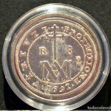 Reproducciones billetes y monedas: REPRODUCCIÓN FNMT MONEDA PLATA 8 REALES 1691 TIPO MARIA CARLOS II ESPAÑA METAL BAÑO DE PLATA PURA. Lote 76923419