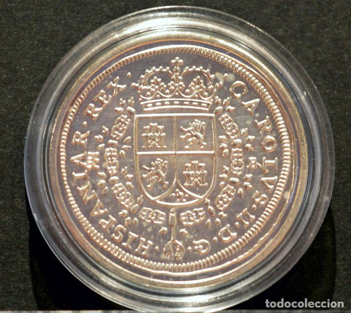 Reproducciones billetes y monedas: REPRODUCCIÓN FNMT MONEDA PLATA 8 REALES 1691 TIPO MARIA CARLOS II ESPAÑA METAL BAÑO DE PLATA PURA - Foto 3 - 76923419