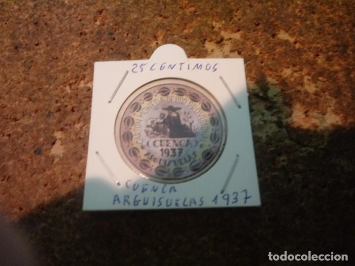 MONEDA CARTON DE CUENCA ( ARGUISUELAS ) 25 CENTIMOS 1937 (Numismática - Reproducciones)
