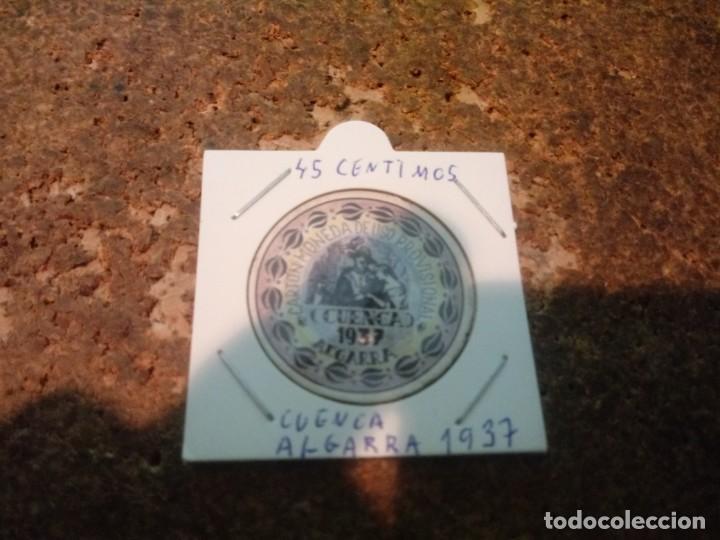 MONEDA CARTON DE CUENCA ( ALGARRA ) 45 CENTIMOS 1937 (Numismática - Reproducciones)