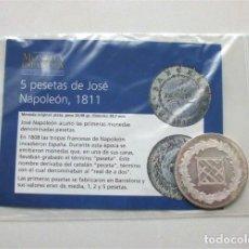 Reproducciones billetes y monedas: 5 PESETAS DE JOSÉ NAPOLEÓN. BARCELONA, 1811. COLECCIÓN HISTORIA DE LA MONEDA ESPAÑOLA (EL MUNDO). Lote 240800270