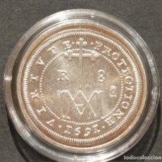 Reproducciones billetes y monedas: REPRODUCCIÓN MONEDA PLATA 8 REALES 1691 SEGOVIA CARLOS II ESPAÑA METAL CON BAÑO DE PLATA PURA. Lote 188527141