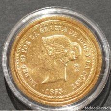 Reproducciones billetes y monedas: REPRODUCCIÓN MONEDA DE ORO ESPAÑA 100 REALES 1855 MADRID ISABEL II METAL CON BAÑO DE ORO PURO. Lote 188527422