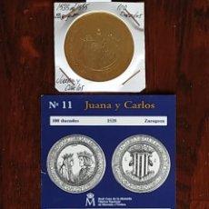 Reproducciones billetes y monedas: MONEDA 100 DUCADOS DE JUANA Y CARLOS. 1528, CON BAÑO DE ORO PURO Y CERTIFICADO DE AUTENTICIDAD FNMT. Lote 188621582