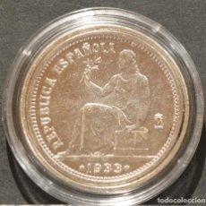 Reproducciones billetes y monedas: REPRODUCCIÓN MONEDA PLATA 1 PESETA 1933 REPUBLICA ESPAÑA METAL CON BAÑO DE PLATA PURA. Lote 188652773