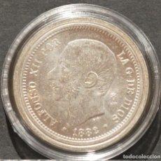 Reproducciones billetes y monedas: REPRODUCCIÓN MONEDA PLATA 5 PESETAS 1882 ALFONSO XII ESPAÑA METAL CON BAÑO DE PLATA PURA. Lote 188652918