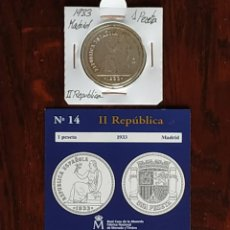 Reproducciones billetes y monedas: MONEDA 1 PTS DE LA II REPÚBLICA, 1933, CON BAÑO DE PLATA PURA Y CERTIFICADO DE AUTENTICIDAD FNMT. Lote 188663352