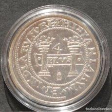 Reproducciones billetes y monedas: REPRODUCCIÓN MONEDA PLATA 4 REALES MEXICO JUANA Y CARLOS ESPAÑA METAL CON BAÑO DE PLATA PURA. Lote 189132825