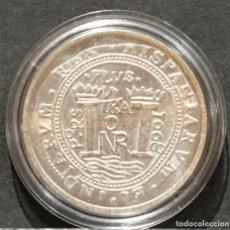 Reproducciones billetes y monedas: REPRODUCCIÓN MONEDA PLATA 8 REALES 1668 NUEVO REINO CARLOS II ESPAÑA METAL CON BAÑO DE PLATA PURA. Lote 189132928
