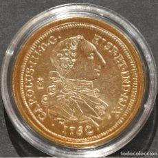 Reproducciones billetes y monedas: REPRODUCCIÓN MONEDA DE ORO 8 ESCUDOS 1762 MEXICO CARLOS III METAL CON BAÑO DE ORO PURO. Lote 189235648