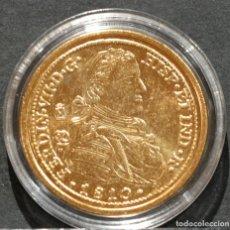 Reproducciones billetes y monedas: REPRODUCCIÓN MONEDA DE ORO 8 ESCUDOS MEXICO 1810 FERNANDO VII METAL CON BAÑO DE ORO PURO. Lote 189235675