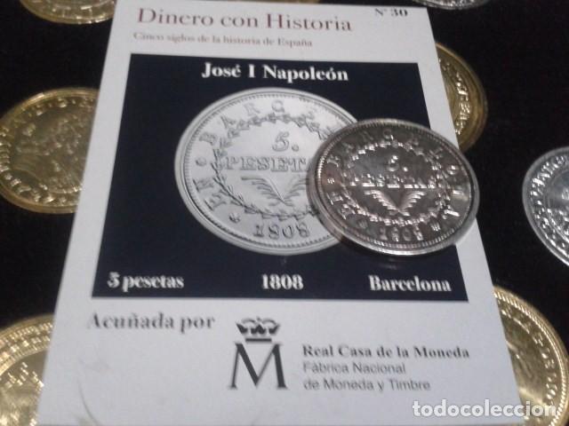 Reproducciones billetes y monedas: MONEDA 5 PESETAS 1808 BARCELONA JOSE I NAPOLEON DE LA FNMT CON BAÑO DE PLATA PURA - Foto 3 - 189525610