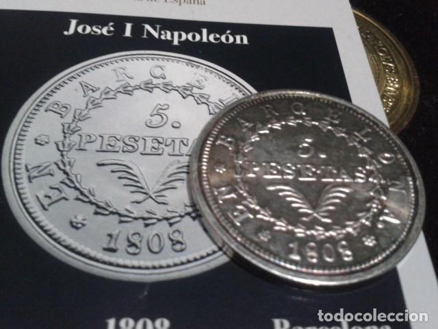 Reproducciones billetes y monedas: MONEDA 5 PESETAS 1808 BARCELONA JOSE I NAPOLEON DE LA FNMT CON BAÑO DE PLATA PURA - Foto 4 - 189525610