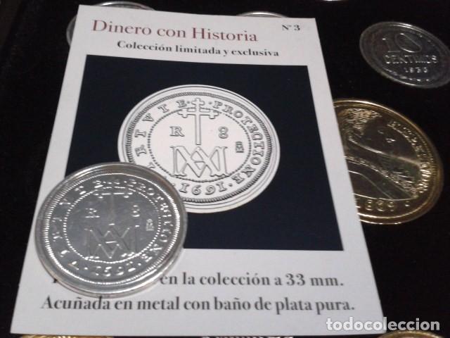 MONEDA CARLOS II 8 REALES 1691 SEGOVIA BAÑO DE PLATA PURA A 33 MM CON CERTIFICADO FNMT (Numismática - Reproducciones)