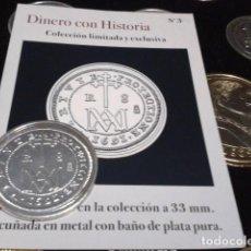Reproducciones billetes y monedas: MONEDA CARLOS II 8 REALES 1691 SEGOVIA BAÑO DE PLATA PURA A 33 MM CON CERTIFICADO FNMT. Lote 189590911