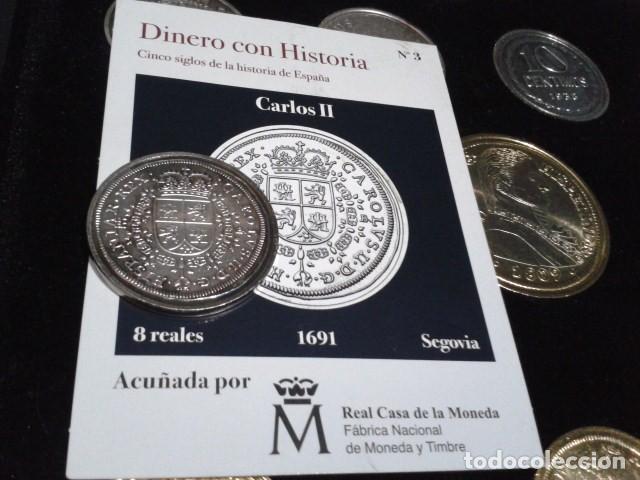 Reproducciones billetes y monedas: MONEDA CARLOS II 8 REALES 1691 SEGOVIA BAÑO DE PLATA PURA A 33 mm CON CERTIFICADO FNMT - Foto 2 - 189590911