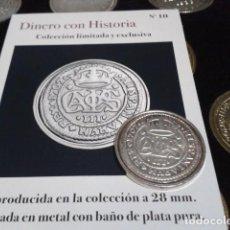 Reproducciones billetes y monedas: MONEDA ARCHIDUQUE CARLOS 2 REALES 1707 BARCELONA BAÑO DE PLATA PURA A 28 MM CON CERTIFICADO FNMT. Lote 189591315