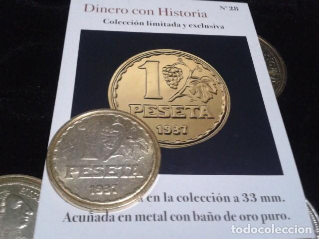 MONEDA II REPUBLICA ( 1 PESETA 1937 MADRID ) BAÑO DE ORO PURO A 33 MM CON CERTIFICADO FNMT (Numismática - Reproducciones)