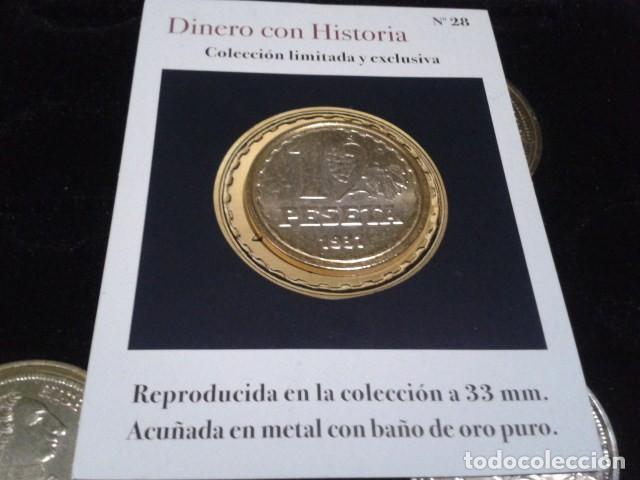 Reproducciones billetes y monedas: MONEDA II REPUBLICA ( 1 PESETA 1937 MADRID ) BAÑO DE ORO PURO A 33 mm CON CERTIFICADO FNMT - Foto 4 - 189682068