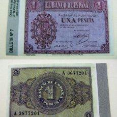 Reproducciones billetes y monedas: BILLETE REPRODUCCION FASCIMIL 1 PESETA 1937. Lote 189964080